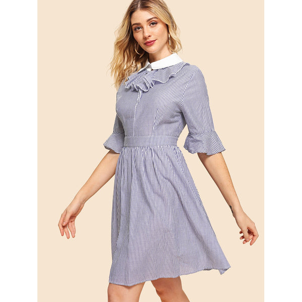Blue Contrast Collar Pinstriped Flare Dress