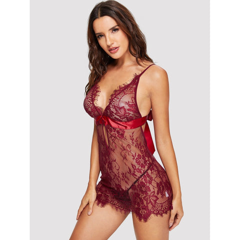 Bras - Women's Trendy Burgundy Eyelash Lace Slips With Thong