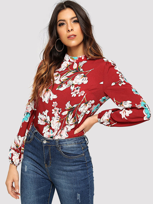 Burgundy Floral Print Mock Top