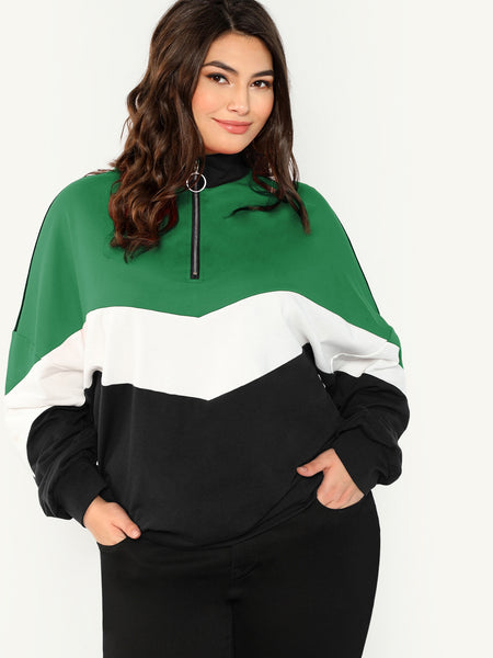 Plus Size Zip Placket Chevron Sweatshirt Top