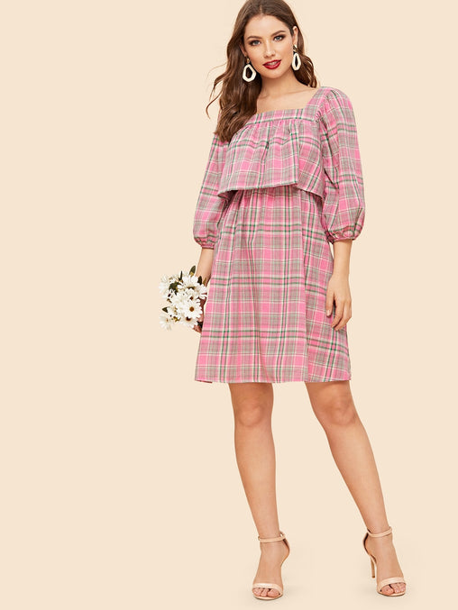 Pink Bishop Sleeve Two Layer Plaid Short Dress