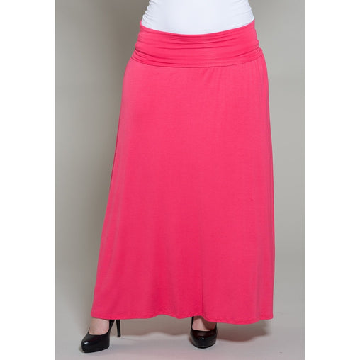 Plus Size Pink Maxi Skirt