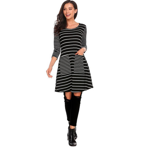 Day Dresses - Women's Trendy Black Collar Above Knee Tunic Dress