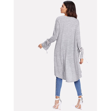 Grey Bow Tie Long Sleeve Coat - Fashiontage