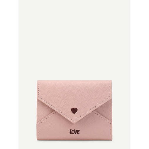 Pink Heart And Letter Print Embroidered Pu Purse