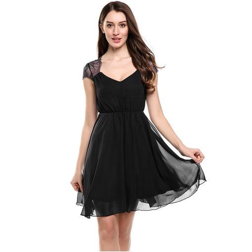 Zeagoo Women V-Neck Cap Sleeve Floral Print Lace Casual Chiffon Pleated Dress