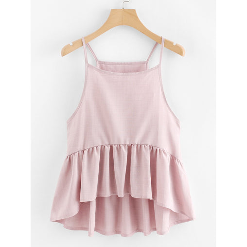 Pink Polyester Pleated Cami