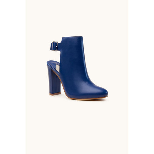 Blue Ankle Block Heel Boots