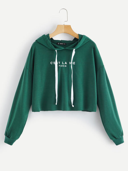 Green Drop Shoulder Hoodie