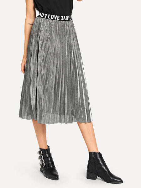 Silver Letter Print Pleated Solid Skirt