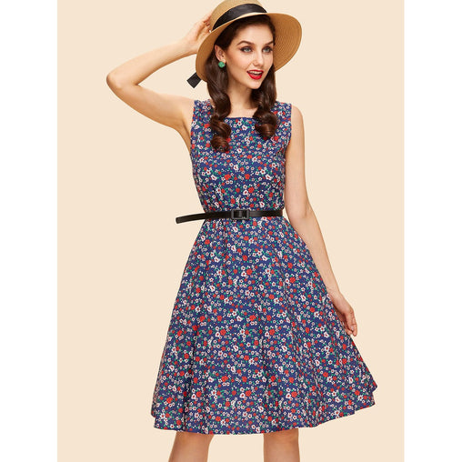 Navy Floral Print Belted Detail Dress