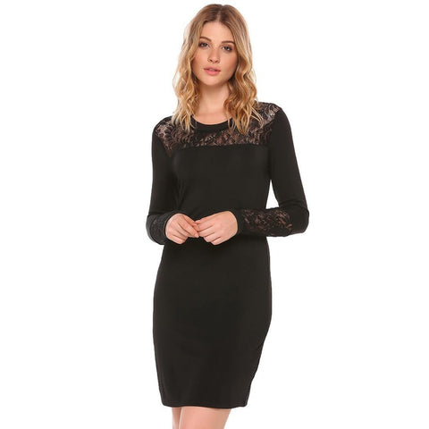 Cocktail & Party Dresses - Women's Trendy Black Collar Long Sleeve Party Dress