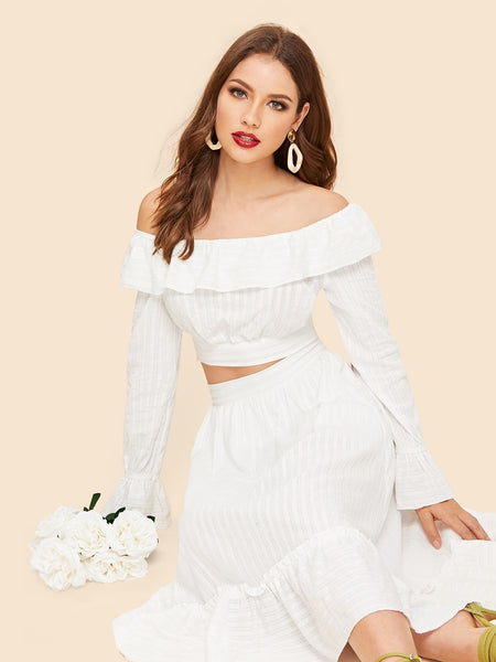 White Off Shoulder Pleated Top & Skirt Set