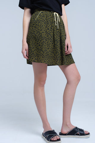 Pleated Skirts - Women's Trendy Green Print Mini Skirt