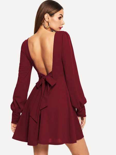 Burgundy Tied Open Back Short Dress