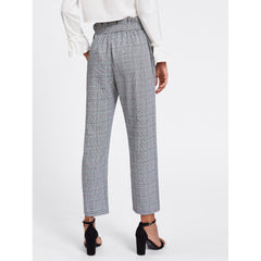 Multicolor Mid Waist Plaid Tapered Carrot Crop Pant