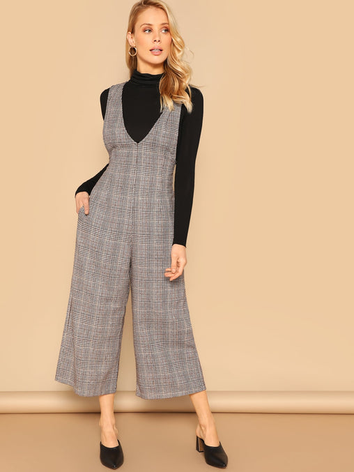 Zip Back Plunging Neck Plaid Palazzo Jumpsuit
