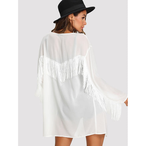 Blouses - Women's Trendy White Fringe Trim Semi Sheer Kimono