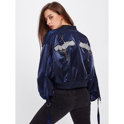 Navy Redcrowned Crane Embroidered Strap Detail Jacket