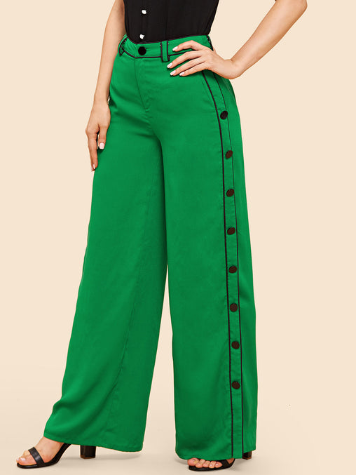 Green Double Button Side Wide Leg Pants