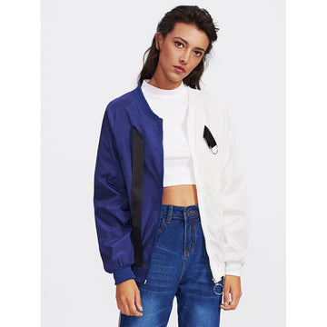 Two Tone Patch Back Ribbon Detail Bomber Jacket - Fashiontage