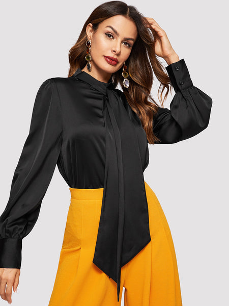 Black Tie Neck Bishop Sleeve Satin Top