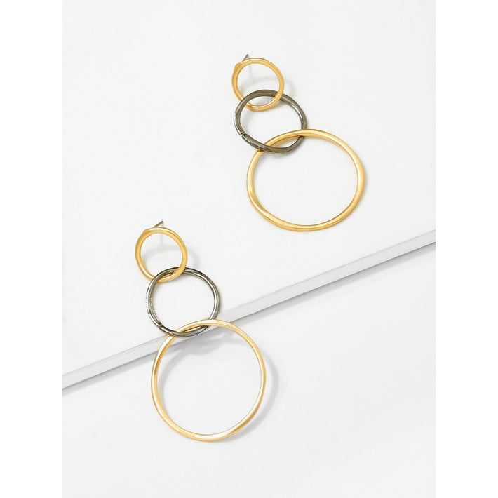 Black Link Hoop Drop Earrings