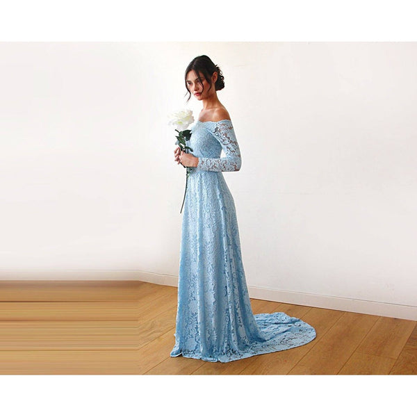 Blue Long Sleeve Full Length Maxi Dress