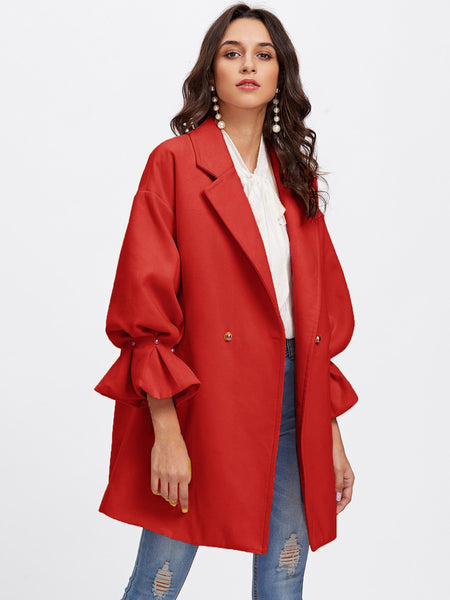 Red Drop Shoulder Pearl Detail Ruffle Cuff Coat