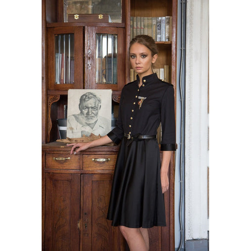 Gold Embossed Mini Military Dress - Fashiontage