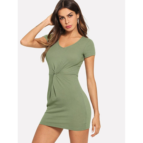 Green Twist Front Solid Dress