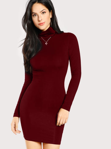 Day Dresses - Women's Trendy Burgundy Turtle Neck Form Fitting Solid Dress