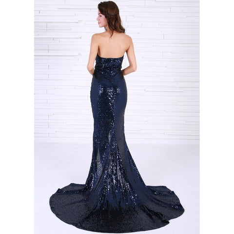 Bridal Dresses - Women's Trendy Navy Blue Sleeveless Sequin Cocktail Dress