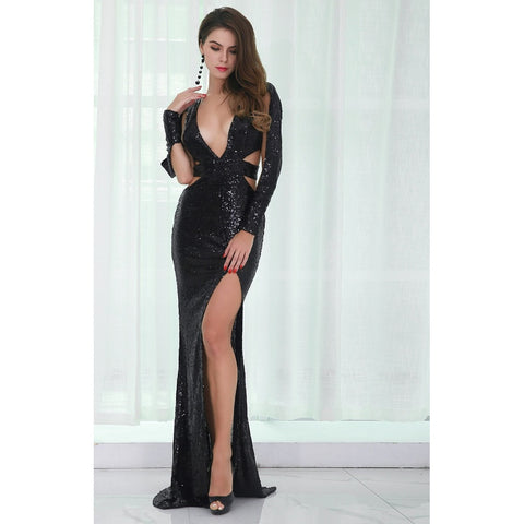 Black Sequin Split Gown