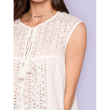 Beige Round Neck Sleeveless Embroidered Top