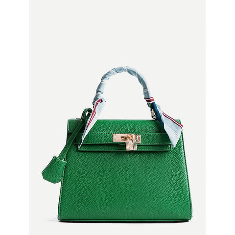 Green Metal Lock Design Pu Shoulder Bag With Scarf - Fashiontage