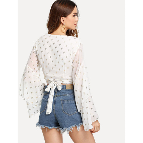 White Ruffle Bell Sleeve Polka Dot Wrap Top