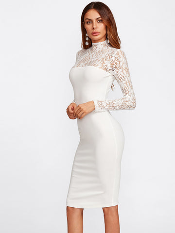 Cocktail & Party Dresses - Women's Trendy White Floral Print Lace Yoke And Sleeve Form Fitting Dress