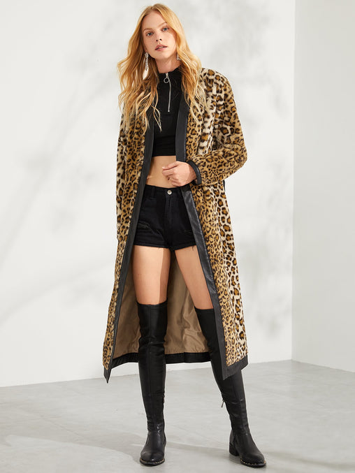Multicolor Faux Fur Leopard Print Longline Coat