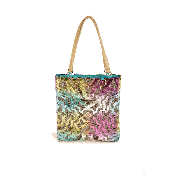 Tote Bags - Women's Trendy Teal Baroque Large Tote Bag