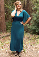 Plus size Teal Blue Maxi Dress