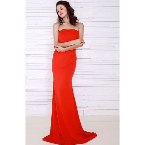 Day Dresses - Women's Trendy Red Maxi Casual Cocktail Dress