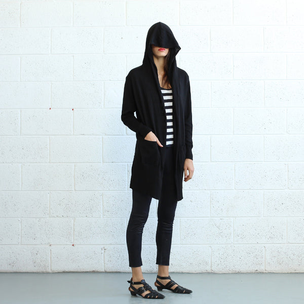 Black Hooded Long Sweater