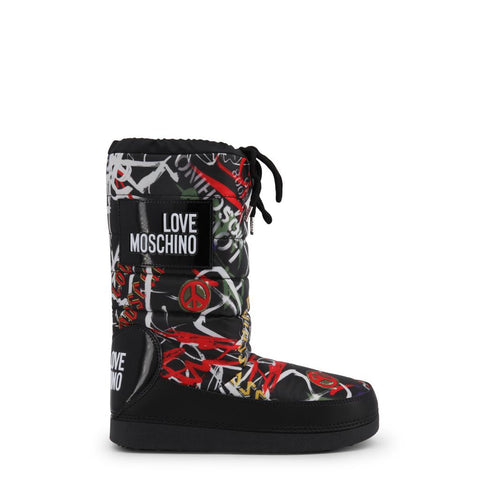 Boots - Women's Trendy Love Moschino Black Round Toe Boots