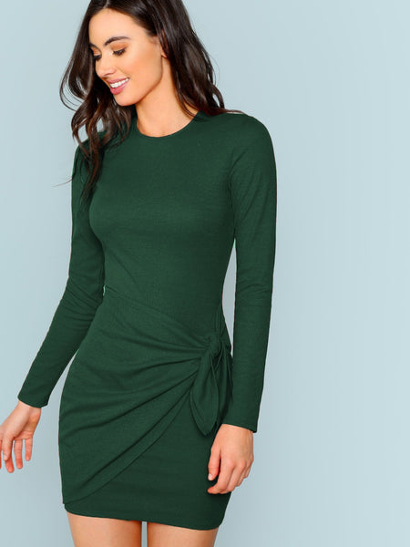 Knotted Wrap Front Fitted Dress