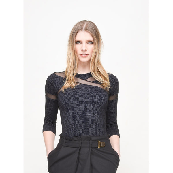 Shirts & Jersey Shirts - Women's Trendy Black Mesh Knit Jersey Top