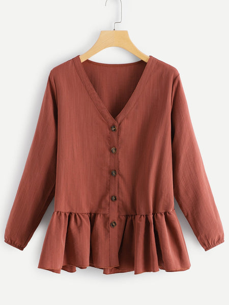 Plus Size Brown Solid Button Decoration Ruffle Hem Top