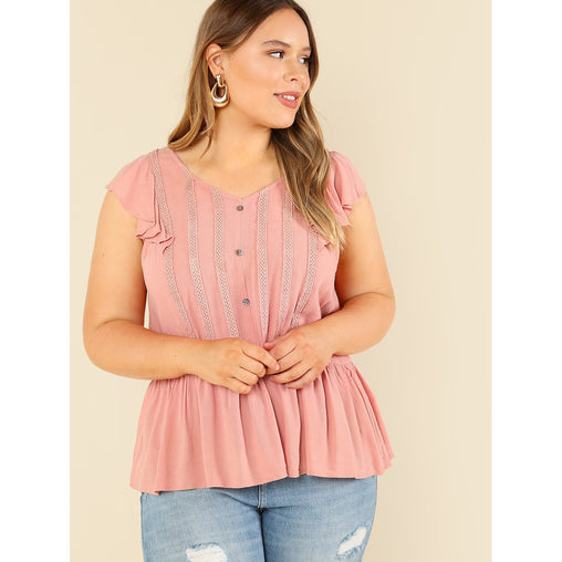 Plus Size Pink Button Front Ruffle Sleeveless Top