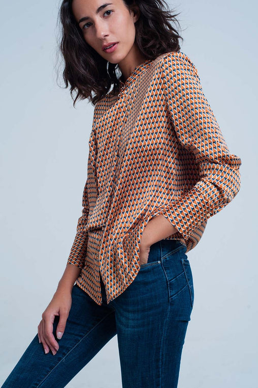 Orange Print Blouse