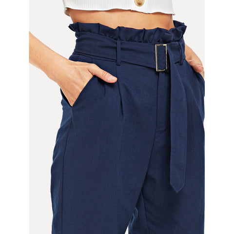 Tapered Pants - Women's Trendy Navy Frill Trim Adjustable Belted Pants